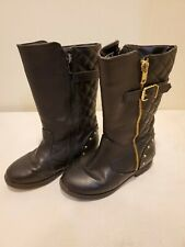 Piper Girl's Alice Black Quilted Riding Boots Size 11 Black