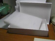 "10 White Cardboard Swirl Gift Jewelry Boxes 6"" X 4 1/8"" X 1"" OD"