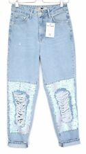 Topshop MOM High Waisted SEQUIN RIPPED FRAYED Blue Tapered Crop Jeans 8 W26 L30