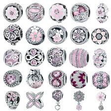 Flor Rosa europea de plata esterlina 925 Cubic Zirconia encanto grano ajuste Collar Pulsera Hágalo usted mismo