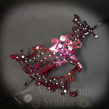 Womens Metal Phantom Filigree Laser-Cut Venetian Masquerade Prom Mask [Burgundy]