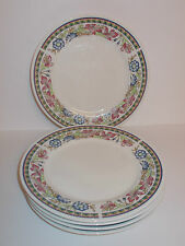 5 x Ceramic 19.4cm Side Tea Cake Plates with Floral Style Edge Design - Lovely