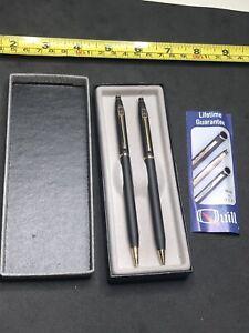 Vintage Quill Oldsmobile Dealer Pen Pencil Box Set Black Gold Made In USA Works