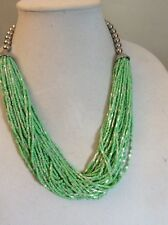 M Haskell Statement Necklace Green Multi Strand Small  Beads $36.50 MH8