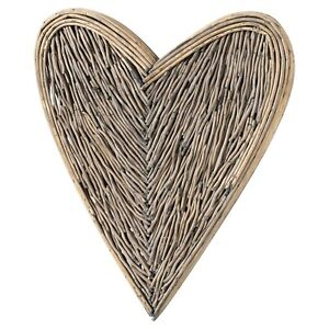 Large Wicker Heart 85cm Willow Washed Brown Hanging Rustic Display Wall Art Home
