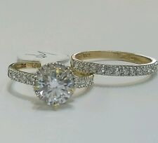 1.5 C 10k  yellow Gold 2 piece halo round Engagement Wedding Ring Set  s 7.5