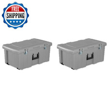 Plastic Storage Container Box Latch Footlocker W/ Handle & Wheels 2-Pack Gray