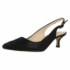 Ladies Clarks Aquifer Belle Black Snake Leather Smart Slingback Shoes D Fitting UK 5.5 EU 39