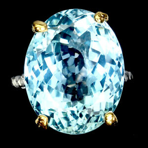 Handmade 100% Natural Oval Sky Blue Topaz 22ct 925 Sterling Silver Ring Size 6.5