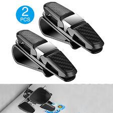 2PCS Car Sun Visor Glasses Clip Carbon Fibre Sunglasses Cards Holder