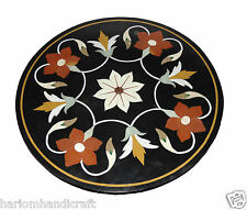 "24"" Marble Side Coffee Round Table Top Carnelian Mosaic Marquetry Home Arts H769"