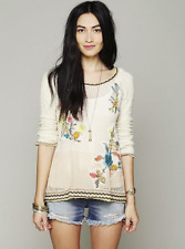 FREE PEOPLE Menagerie Embroidered Hooded Pullover Sweater L