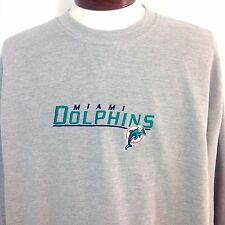 Miami Dolphins Sweatshirt NFL Gray Embroidered Cotton Blend Mens Large