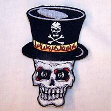 TOP HAT SKULL HEAD EMBROIDERED PATCH P348  Iron on biker JACKET patches NEW