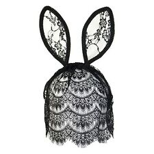 Floral Bunny Rabbit Ears Fancy Dress Headband with Veil - Black