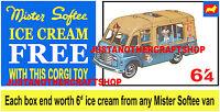 Corgi Toys 428 Mr Softee Walls Ice Cream Van Large Poster Sign Leaflet Advert