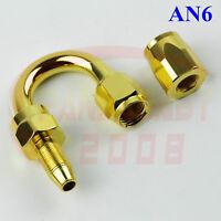 #6 AN6 6AN -6 06 U-Bend Oil Fuel Hose End Fitting Line Tank Adapter 180 Deg Gold