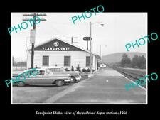 OLD LARGE HISTORIC PHOTO OF SANDPOINT IDAHO, THE RAILROAD DEPOT STATION c1960