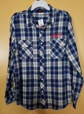 STRANGER THINGS Blue Flannel Plaid Long-Sleeve Button-Down Shirt, Size Large