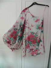 BNWT NEW RIVER ISLAND WHITE PINK FLORAL ONE SHOULDER  LONG party TOP 6 look
