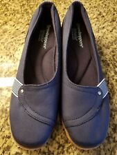 NEW GRASSHOPPERS ORTHOLITE LOW WEDGE NAVY BLUE  WOMEN'S SLIP ON SHOES SZ 10M