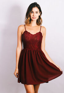 KIMCHI BLUE Urban Outfitters Burgundy Lace Detail Womens Dress