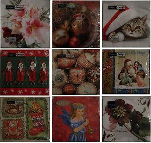 Servietten, Weihnachten, Serviettentechnik, Weihnachtsservietten, 20 Stück Pck.