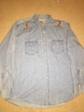9fe5706db3a Vintage Guess Western Pearl Snap Button Up Denim Shirt Cowboy Boots USA  Medium