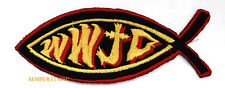WWJD WHAT WOULD JESUS DO FISH CHRISTIAN Iron On Hat Patch PIN UP HEART GOD ANGEL