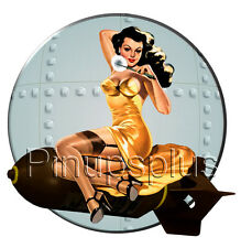 Bomber Nose Art Pinup Girl Riding Bomb Waterslide Decal Sticker Bulk Head S828