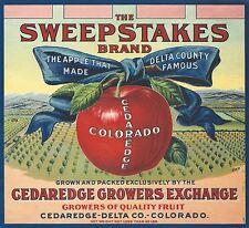 "RARE OLD 1922 GORGEOUS ""SWEEPSTAKES BRAND"" APPLE BOX LABEL CEDAREDGE COLORADO"