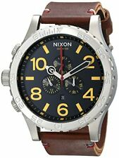 Nixon 51-30 Black Dial SS Leather Chrono Quartz Mens Watch A124-019