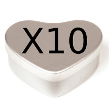 10 silver colour love heart candle making tins. 50ml