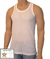 Mens Mesh Vest White Airtex Eyelet Five Star Sleeveless Summer Gym 100% Cotton