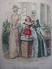 """53/ GRAVURE DE MODE """" Moniteur de la Mode Paris 1891 """".   Grand format 36x26"""