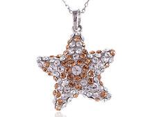 Light Peach Silver Tone Crystal Elements Starfish Rhinestone New Necklace