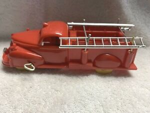 """Vintage Hard Plastic Toy Wind up Fire Engine with bell sounds 9"""""""