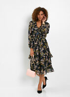 Black floral Print Chiffon Dress with Tiered Ruffle Effect and Puff Sleeves 18