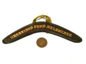 Antique Novelty Souvenir Miniature Wood Boomerang Australia GREETINGS MELBOURNE