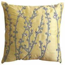 "Yellow 16""x16"" Accent Throw Pillow Luxury, Silk Ivy - Yellow Crystal Willow"