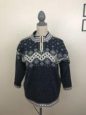DALE OF NORWAY Men's Small Navy Zip Up Wool Snowflake Sweater Windproof