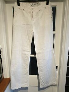 NEW LOOK White Linen Mix Wide Leg Trousers (Womens, Size 12T)