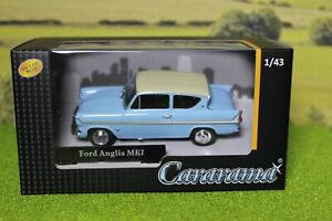 Cararama 1:43 scale Ford Anglia Blue & white, Great for 0 Gauge Railways.