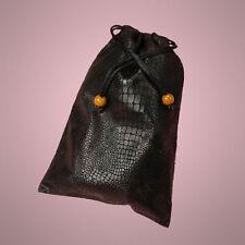 "NEW Black 5"" x 7"" Faux Leather Drawstring Bag Pouch"
