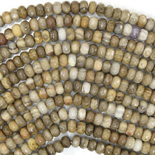 "6mm faceted petrified wood agate rondelle beads 15.5"" strand"