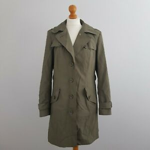 Marks & Spencer M&S Women's Khaki Green Buttoned Up Trench Coat Jacket Size M