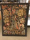 """Antique French Needlepoint Tapestry 34"""" By 26"""" Lady Unicorn Lion With Petipoint"""