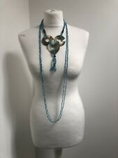 Turquoise Blue Shell Disk Trio Sea Bead Necklace Ethnic Boho Statement Layering