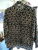 Gantos Women's Long Sleeve Button-Down 100% Silk Blouse Top Animal Print Size L