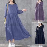 100% coton ZANZEA Femme Manche Longue Col Rond Robe Dress Couleur Unie Plus